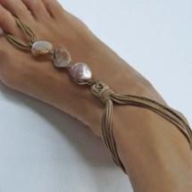 Creme Shell Barefoot Sandals Boho Foot Jewelry Beach