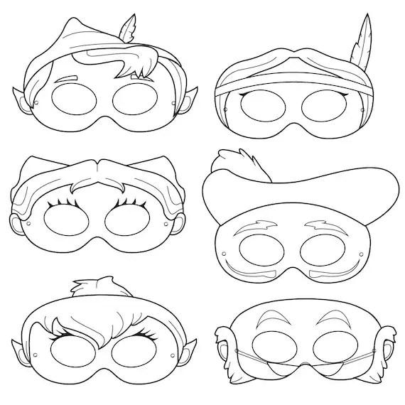 Peter Pan Printable Coloring Mask peter pan captain hook