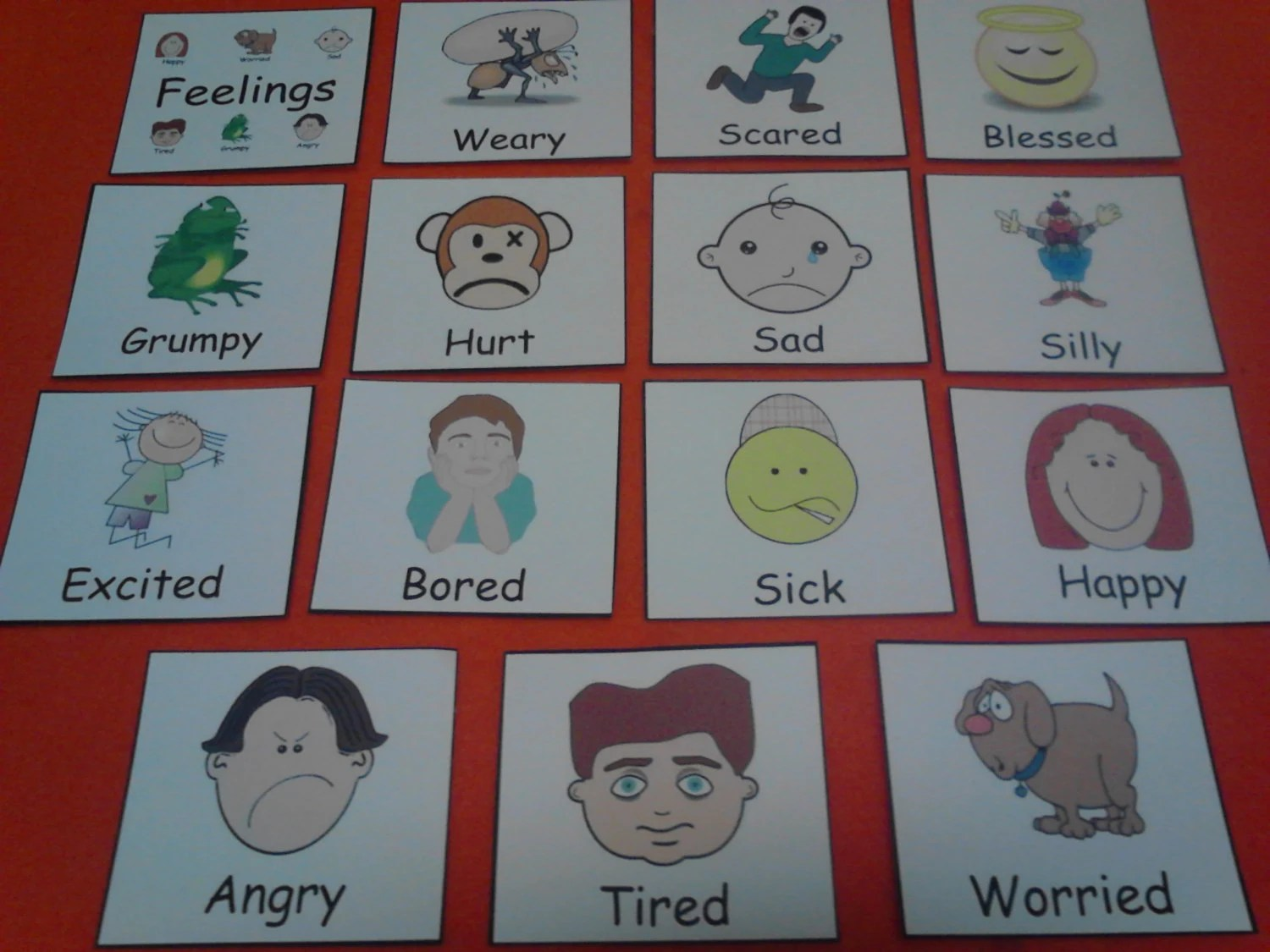 Feelings Flash Cards Laminated Emotions Flashcards Kids
