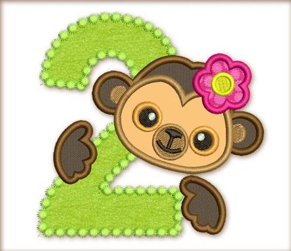 Items similar to Funny Monkey Girl Happy Birthday Number 2