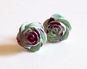 Handmade Polymer Clay Post Earrings // Victorian Inspired Medium ZOMBIE ROSES - jillianlyonsdesigns