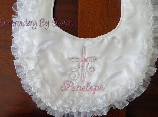 Personalized Baptism White Satin Bib Christening