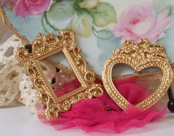 Mini Gold Toned Frames Heart Shaped Frame Victorian