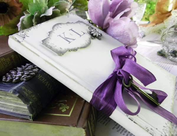 Unique vintage styled wedding guest book shabby chic style