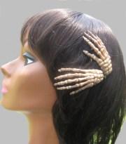 skeleton hand hair clips halloween