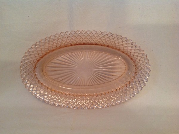 America Pink Depression Oval Glass Platter