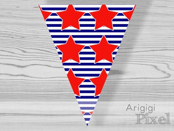 striped pennant with red stars printable bunting by