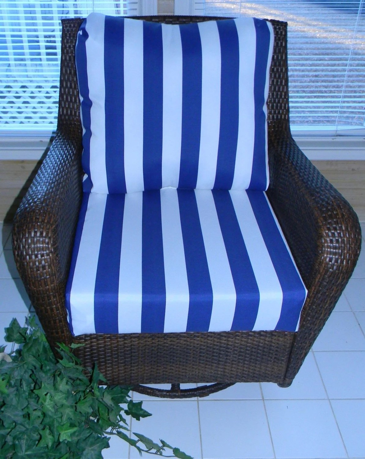 wicker patio chair set of 2 pier one navy blue & white stripe cushion for outdoor deep seat