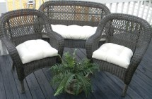 Ivory Cream Natural Solid Fabric Cushions Wicker Loveseat