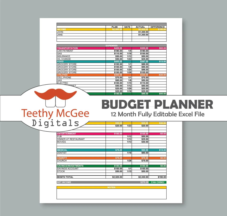 12 Month Budget Planner Amp Expenses Tracker Kit Instant