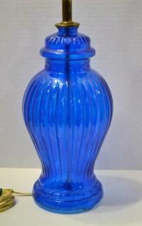 Vintage Cobalt Blue Glass Table Lamp Ginger Jar PanchosPorch