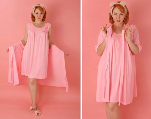 1960s Hot Pink Peignoir Lingerie Set Robe Gown Knee Length