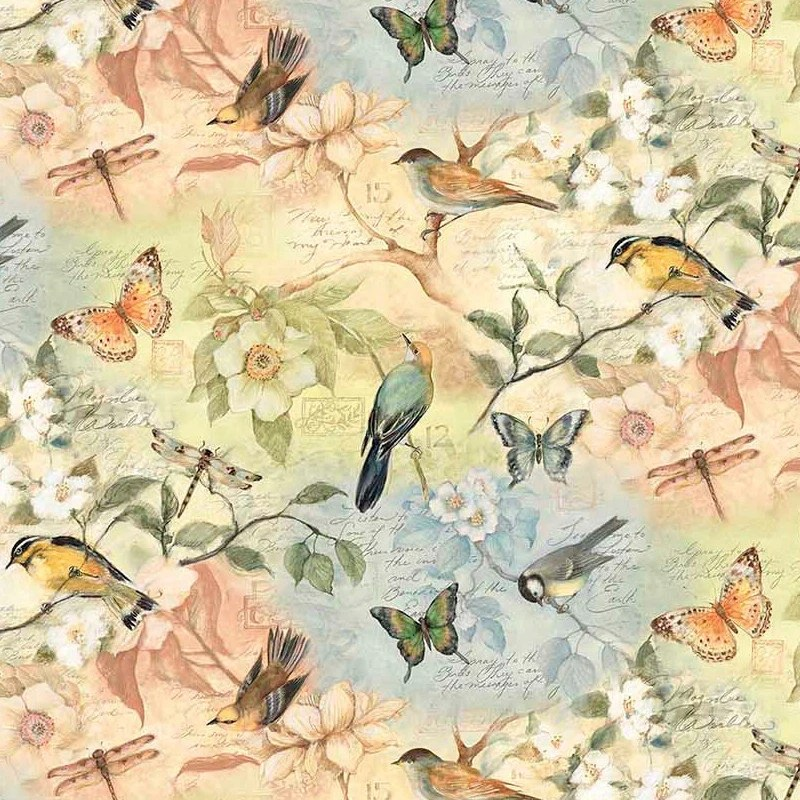 Susan Winget Birds Of A Feather Scenic Cotton Fabric