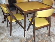 Vintage Mcm Stakmore Folding Table With 4 -frame Chairs