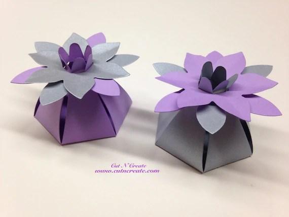 Silver Wedding Favor Boxes Purple Wedding Favor Boxes Flower