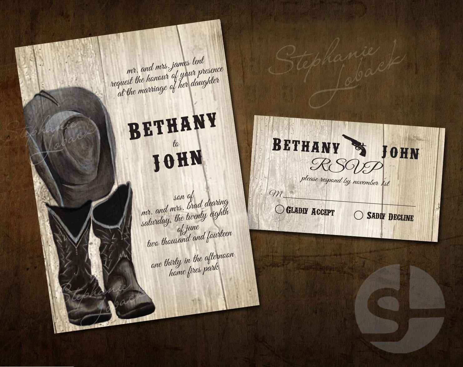 Boots Wedding Invitations: Country Wedding Invitation Print