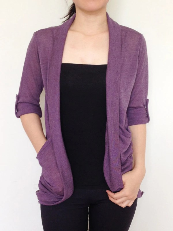 Sc008 Purple Women Cardigan Sweater