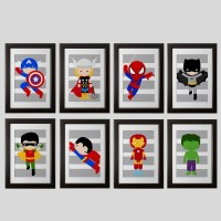 PICK 6 superhero wall PRINTS Super hero wall art boys room