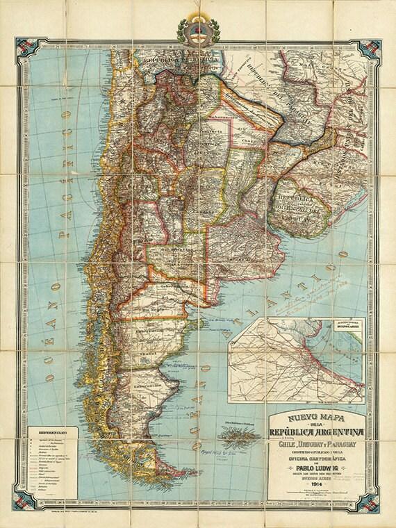 Argentina map print map vintage old maps Antique prints poster
