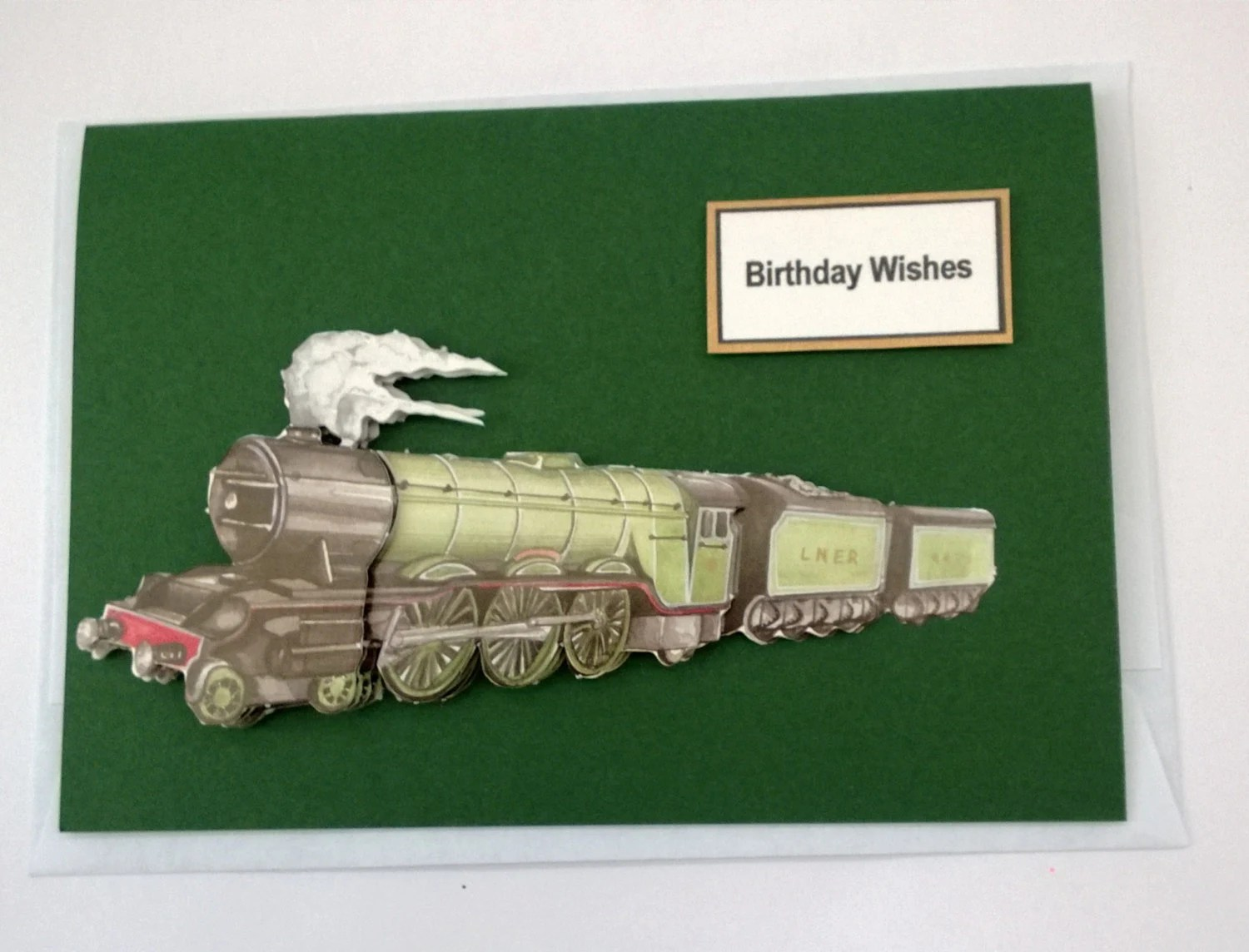 Handmade Birthday Card for Men and Boys in Dark Green with a Steam Train in 3D Decoupage with Best Wishes at the top