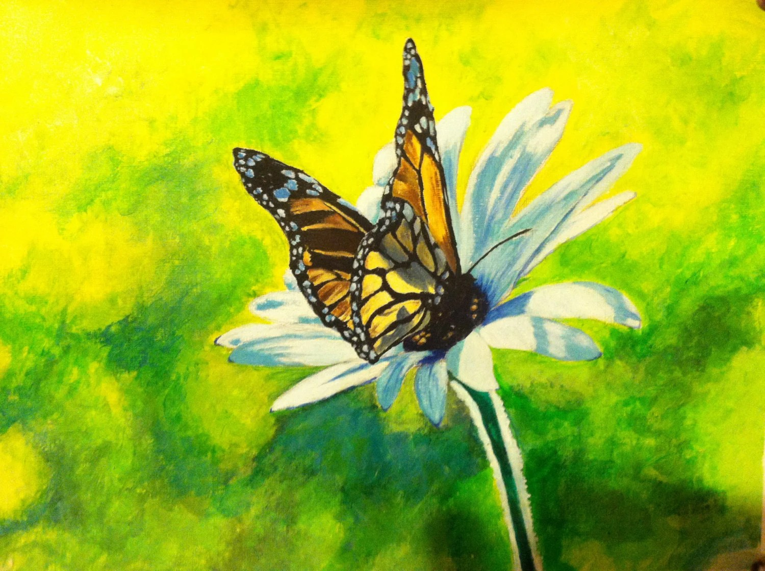 Acrylic Painting Butterfly Flower 12 X 9 Loose By
