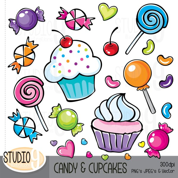 candy & cupcakes clip art