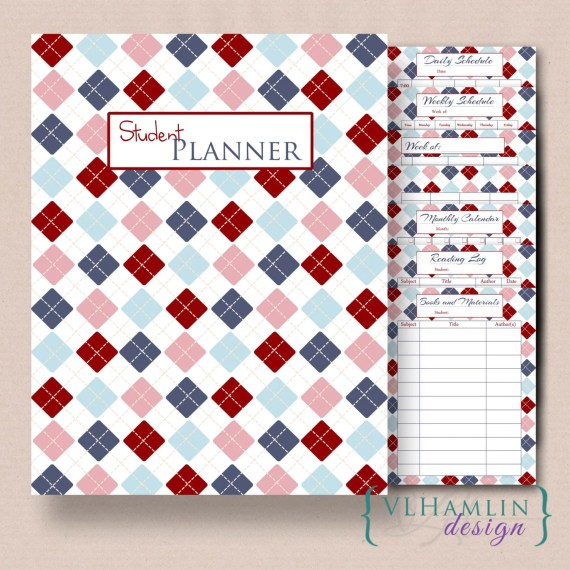 Handmade Back to School Supplies - Printable Student Planner, Home School Planner, Daily Schedule, Lesson Plan, Set of 8, Blue and Red Plaid, Instant Download from VLHamlinDesign