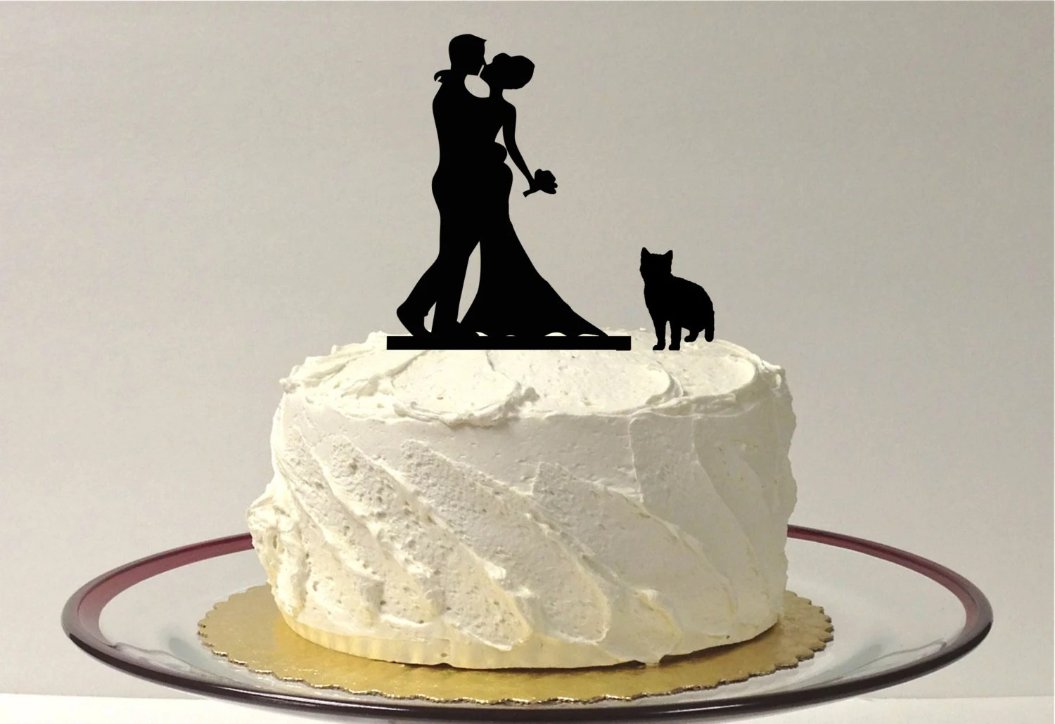 MADE In USA Cat Bride Groom Silhouette Cake Topper With