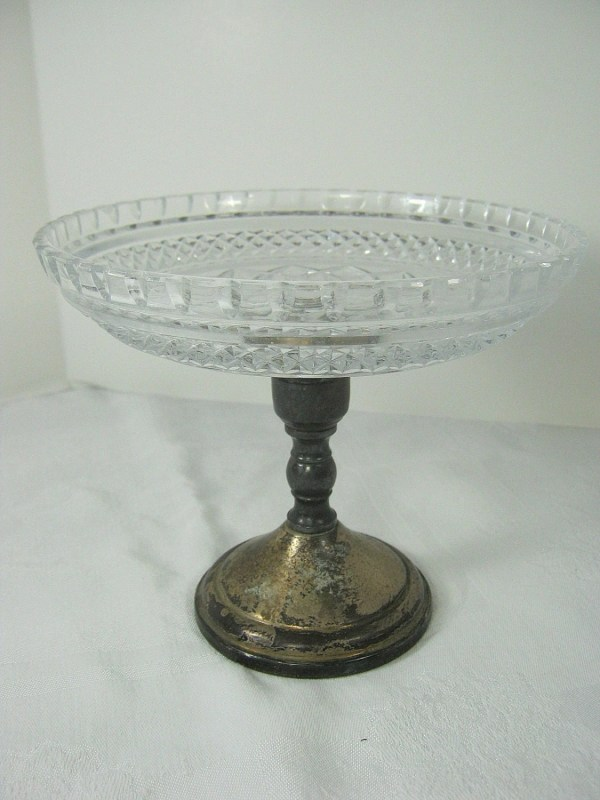 Vintage Silverplate Pedestal Glass Bowl Wedding Tarnish