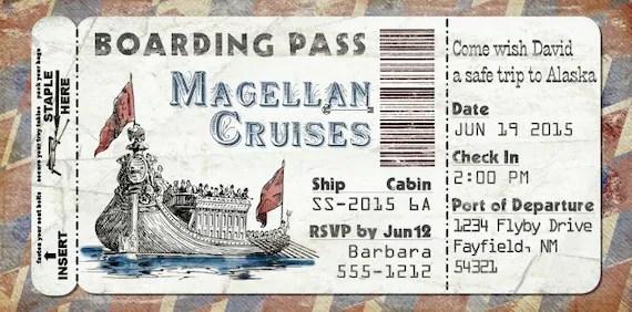 Kreuzfahrt Schiff Bordkarte Einladung fr Hochzeit