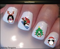 Penguin Nail Decal Holiday nail art by NAILTHINS