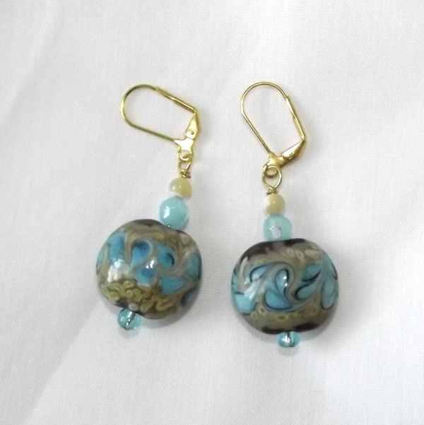 Handmade Beaded Earrings Artisan Jewelry Lampwork Glass Beads