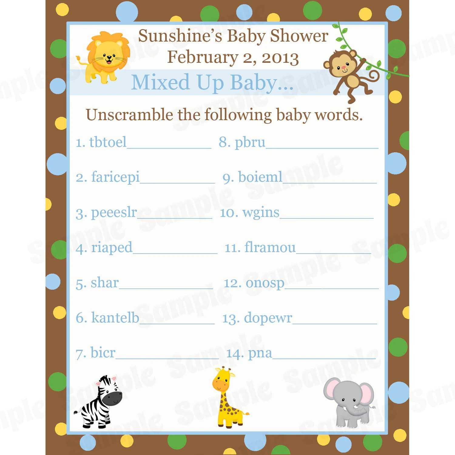 24 Personalized Word Scramble Baby Shower Game Cards Zoo