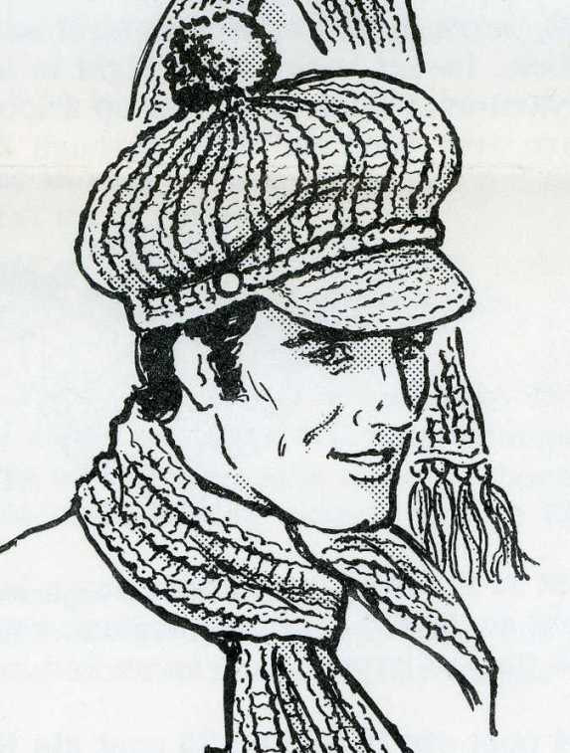 Hat Scarf Crochet PATTERN 959 Mens Womens Hat Scarf small