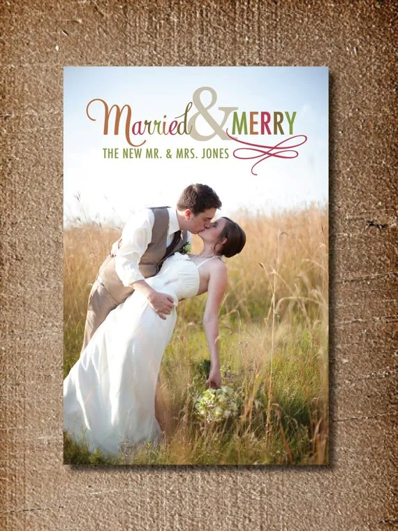 Items Similar To Newlywed Christmas Card Married Amp Merry