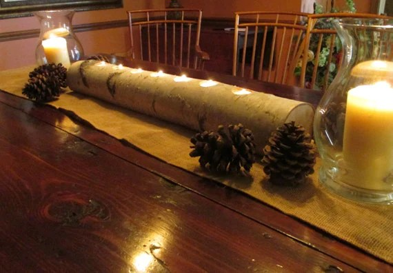 Birch Log Candle Holder 29 Long Centerpiece By