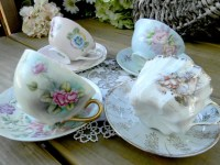 4 MISMATCHED Cups and Saucers Lot Tea Party or Vintage