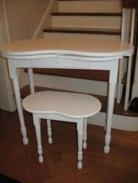 Vintage Kidney Shaped Vanity Dressing Table Desk and Matching