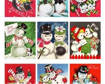 Printable Digital Winter Clip Art Snowman 8 Snow