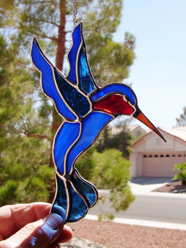 Stained Glass Humming Bird With Ruby Throat 451