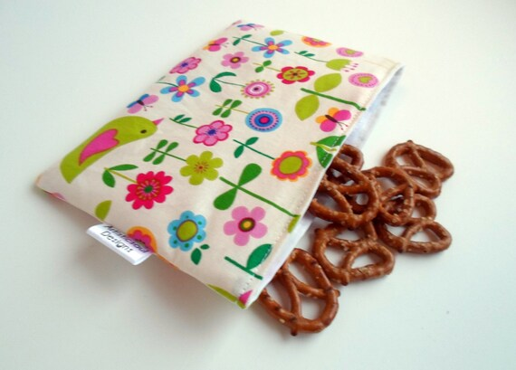 Handmade Back to School Supplies - Reusable Sandwich Bag -- Flower Patch Eco-Friendly from ArtisticsoulDesigns