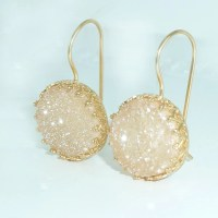 Druzy Earrings Peach Druzy Drop Earrings Gold by inbalmishan