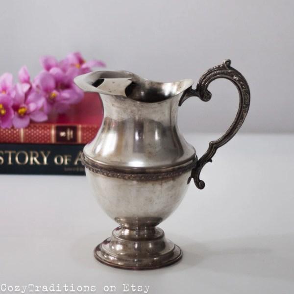 Silver Pitcher Vase Jug Vintage Silverplate