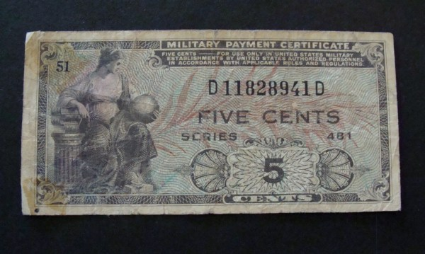 1951-1954 Military Payment Certificate 5 Cents Series 481