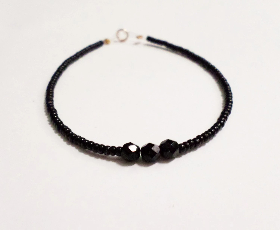 simple black seed beaded bracelet friendship gift by