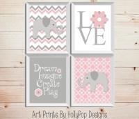 Pink Gray Nursery Decor Baby Girl Nursery Wall Decor Elephant