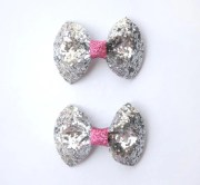 silver and pink glitter hair bows