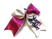 cheer bow pink and white happy