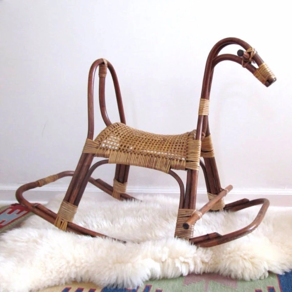 childs rattan chair aeron sizes mid century rocking horse vintage