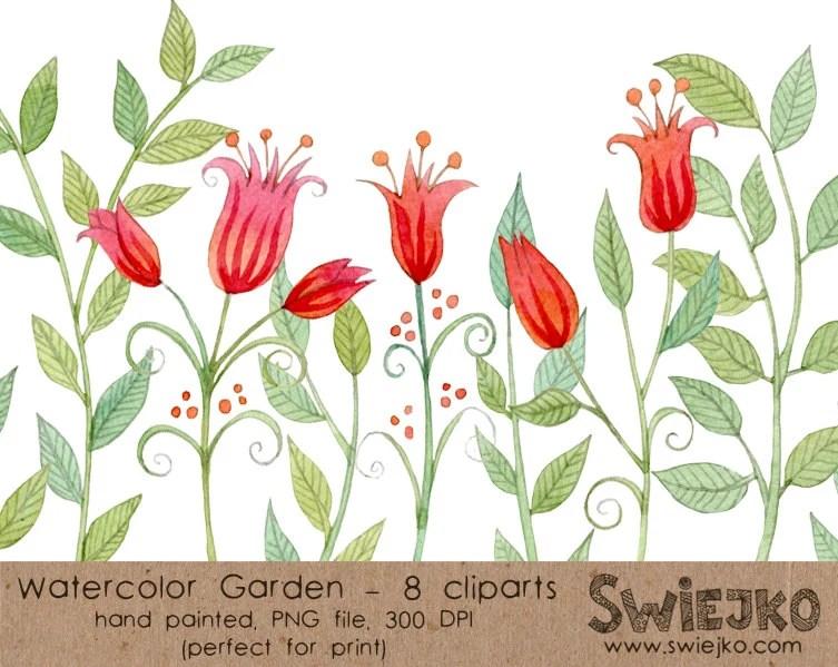 Digital Watercolor Clip Art Flower Set Red Flower Garden